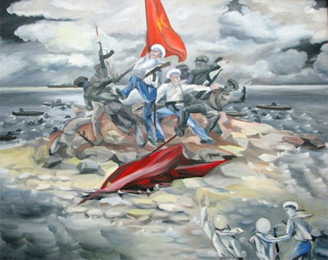 Bức tranh miêu tả cuộc chiến đấu bảo vệ đảo Gạc Ma 14-3-1988 (đang được treo tại Phòng Truyền thống của Vùng 4 Hải quân)